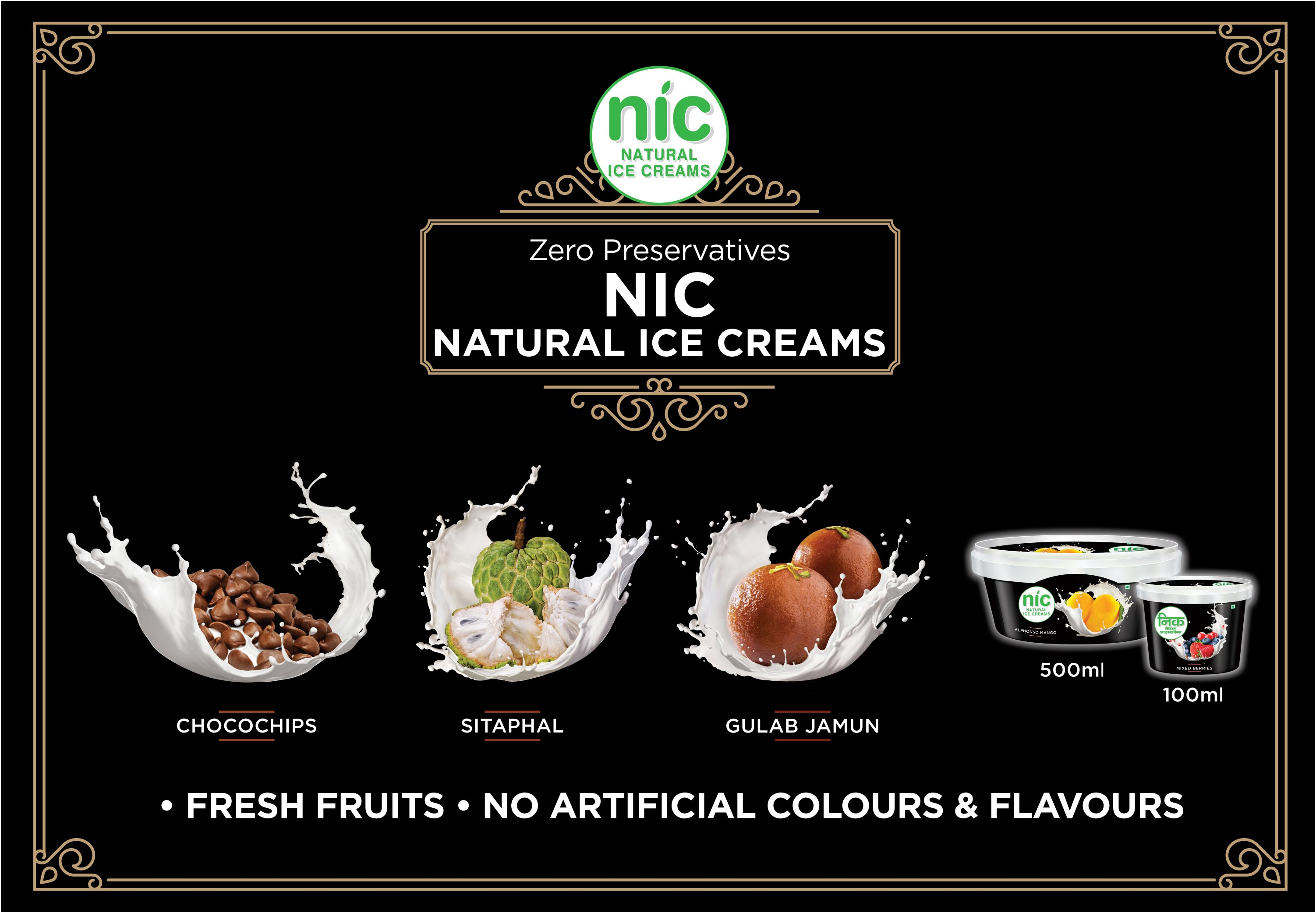 Nic Natural Ice creams as 100% natural